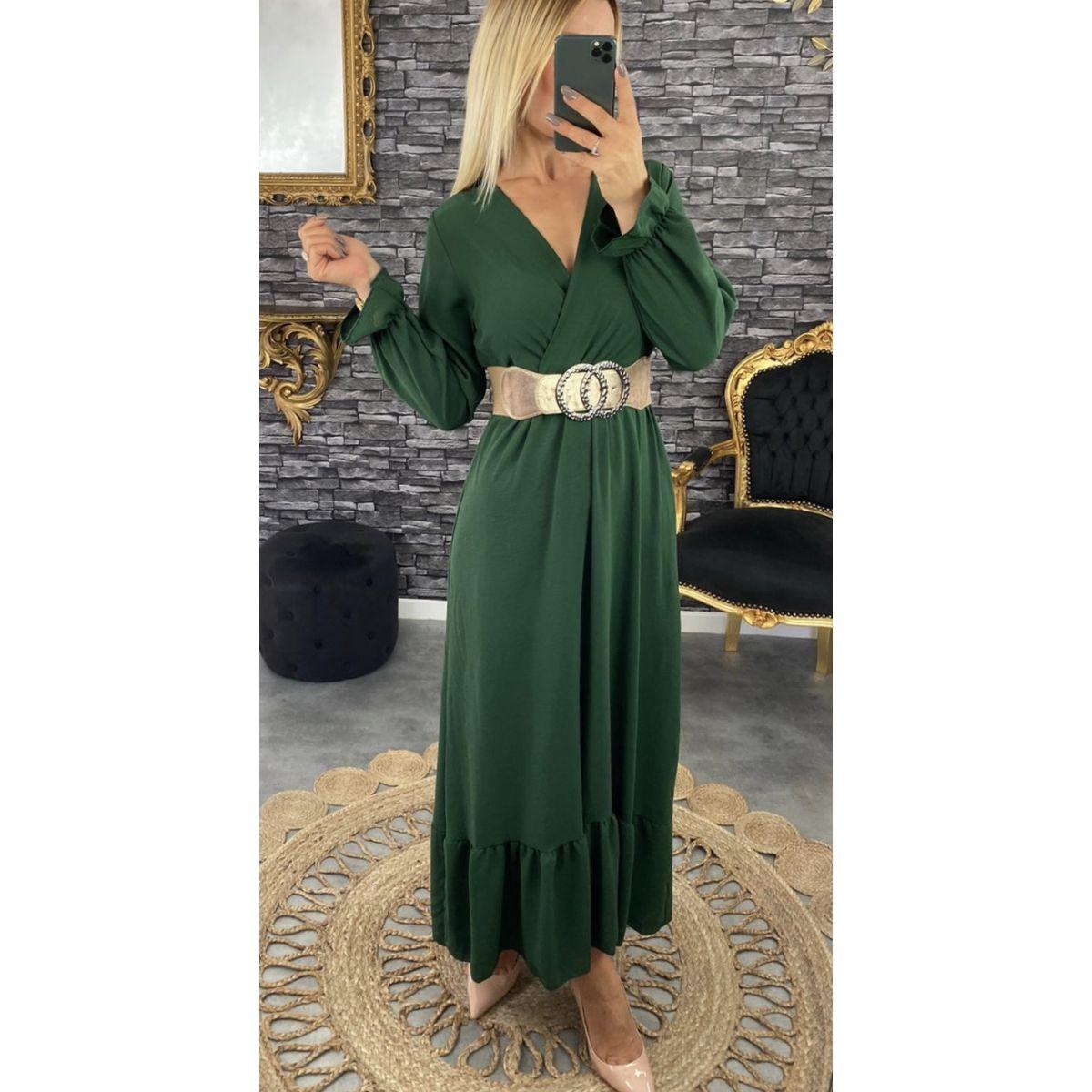 Robe longue cache coeur vert émeraude