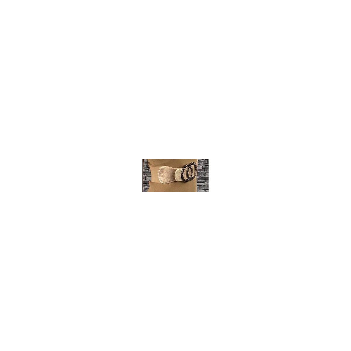 Ceinture élastique beige-gold boucle double anneaux