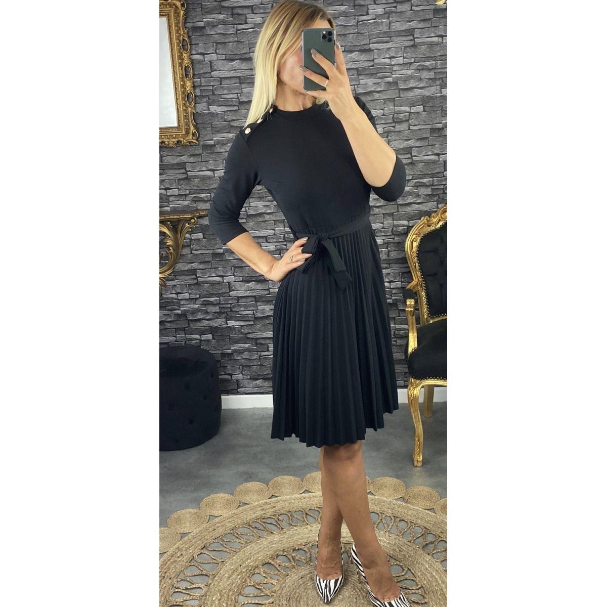 Robe longue 3:4 noire et plissé