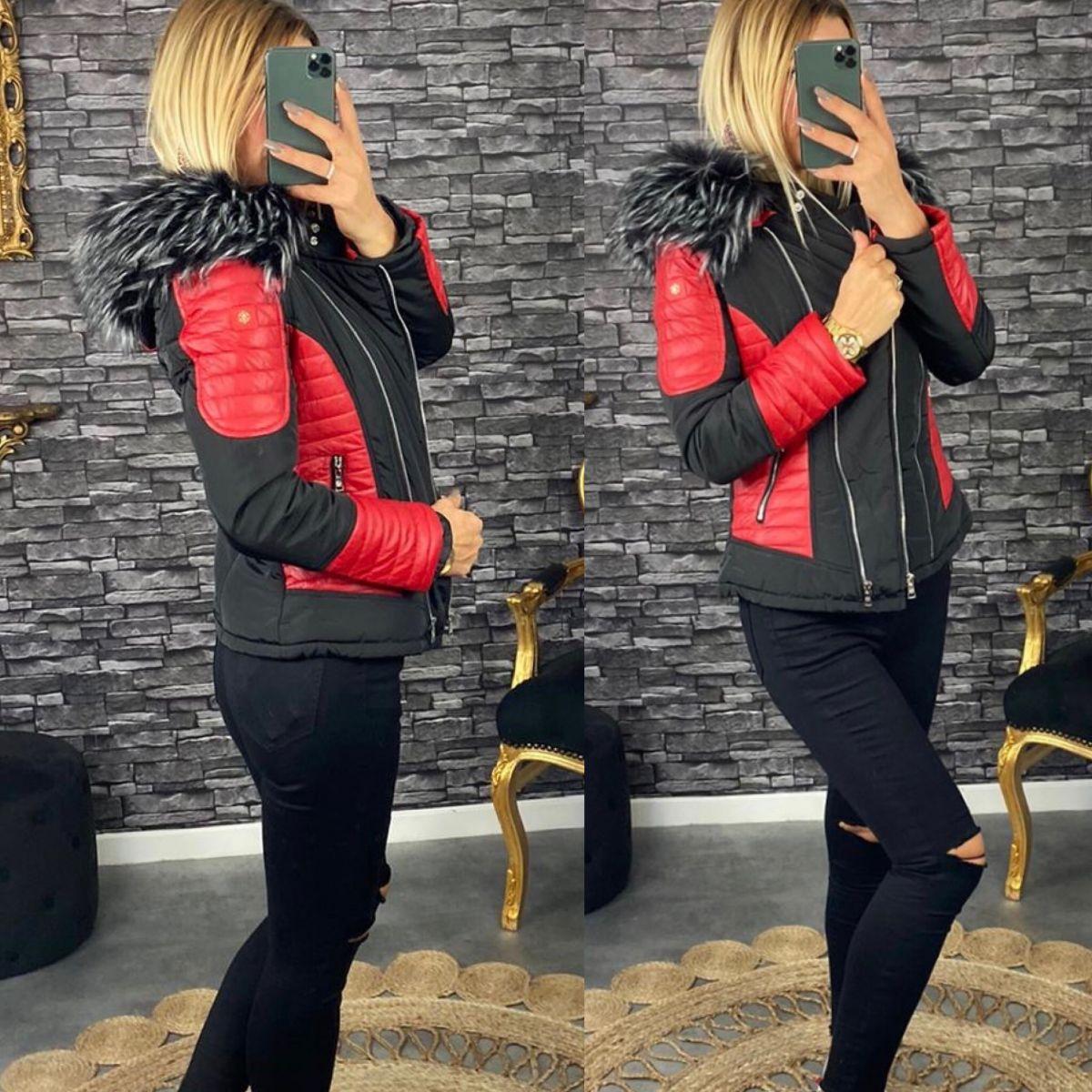 Doudoune noire et style cuir rouge col noir