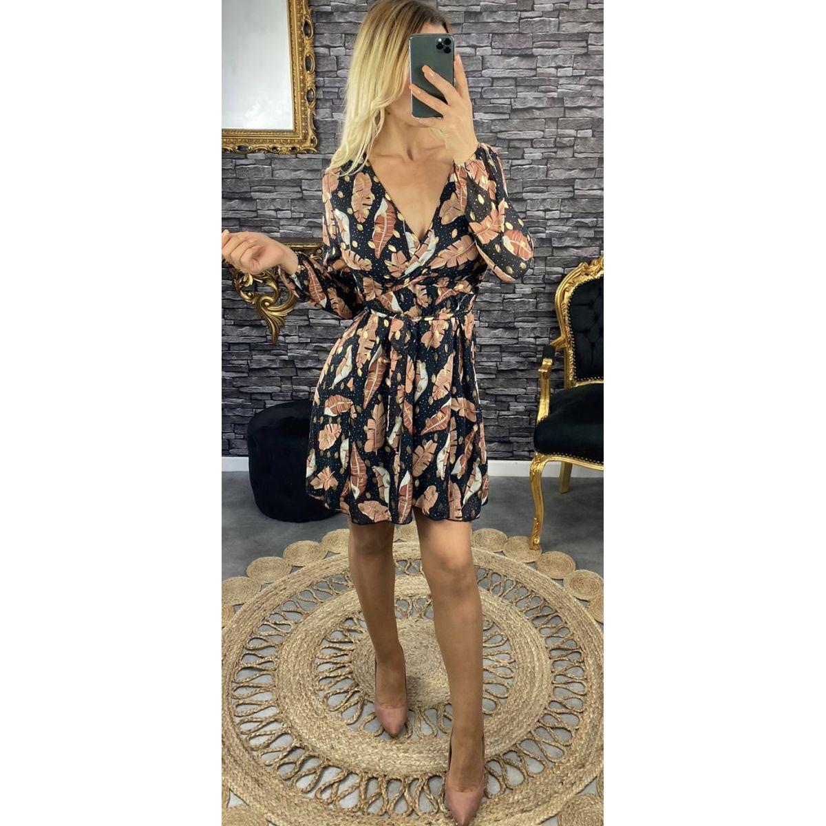 Robe mousseline noire joli imprimé feuille et gold