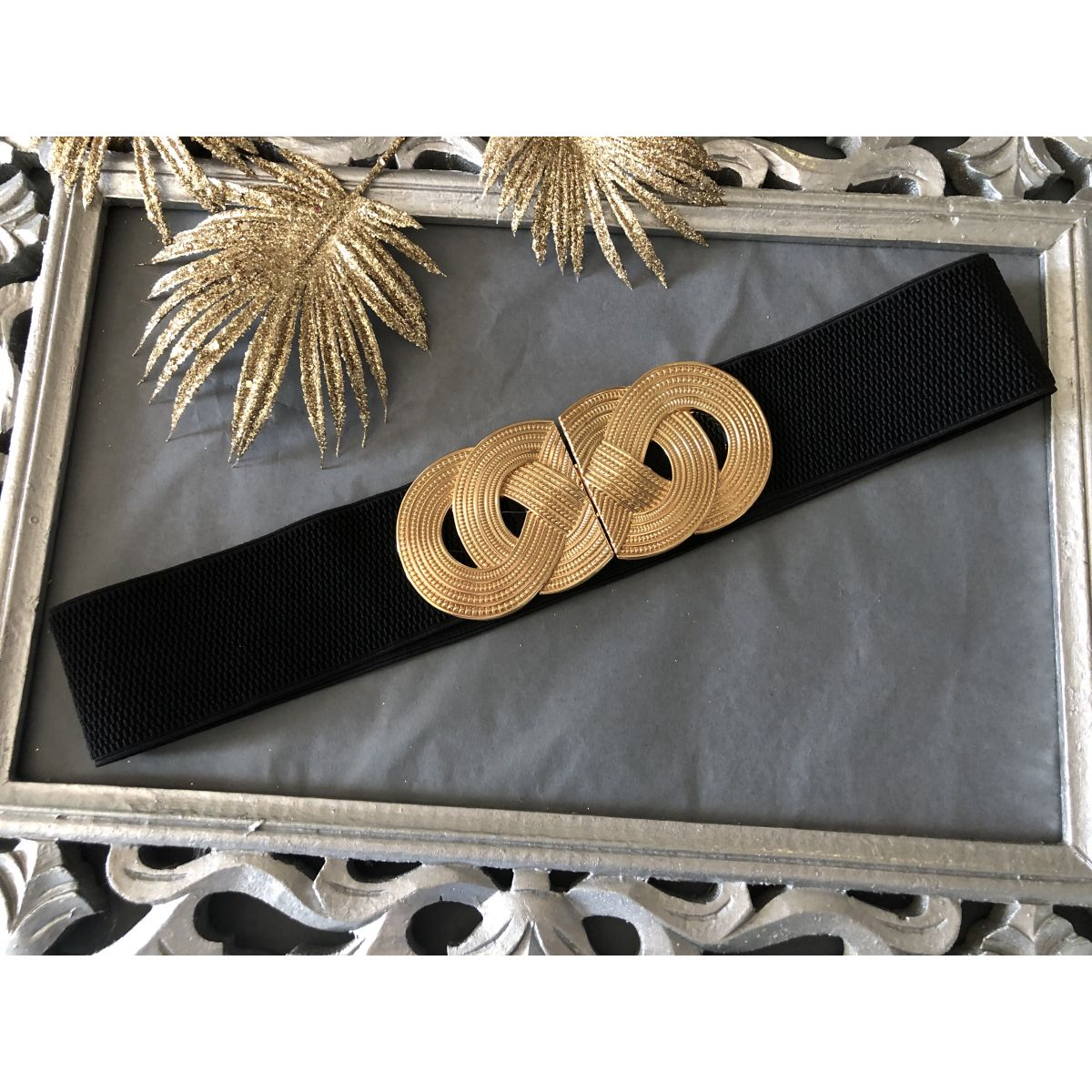 Ceinture noire élastique boucle anneaux gold