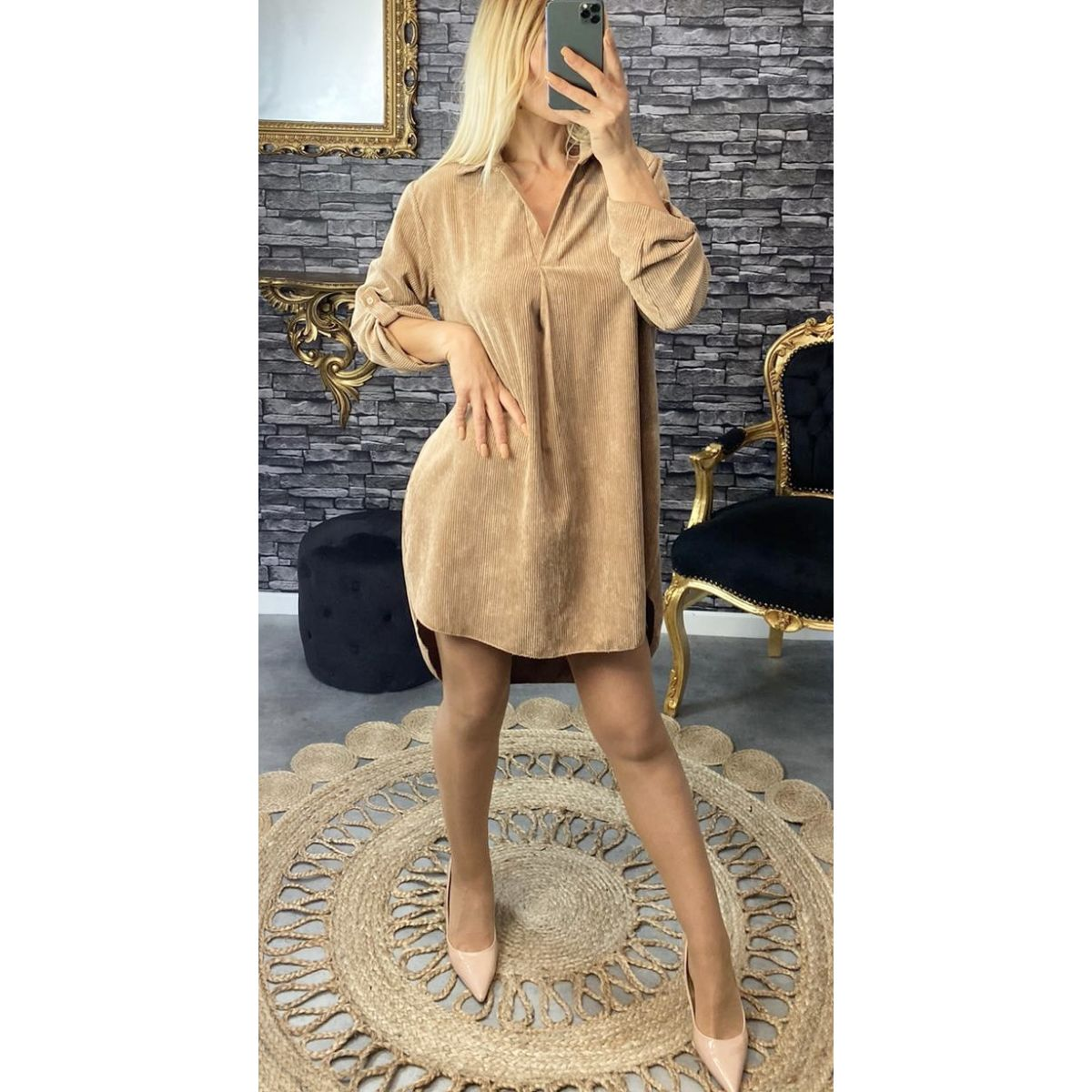 """Robe velours beige coupe"""" loose """""""