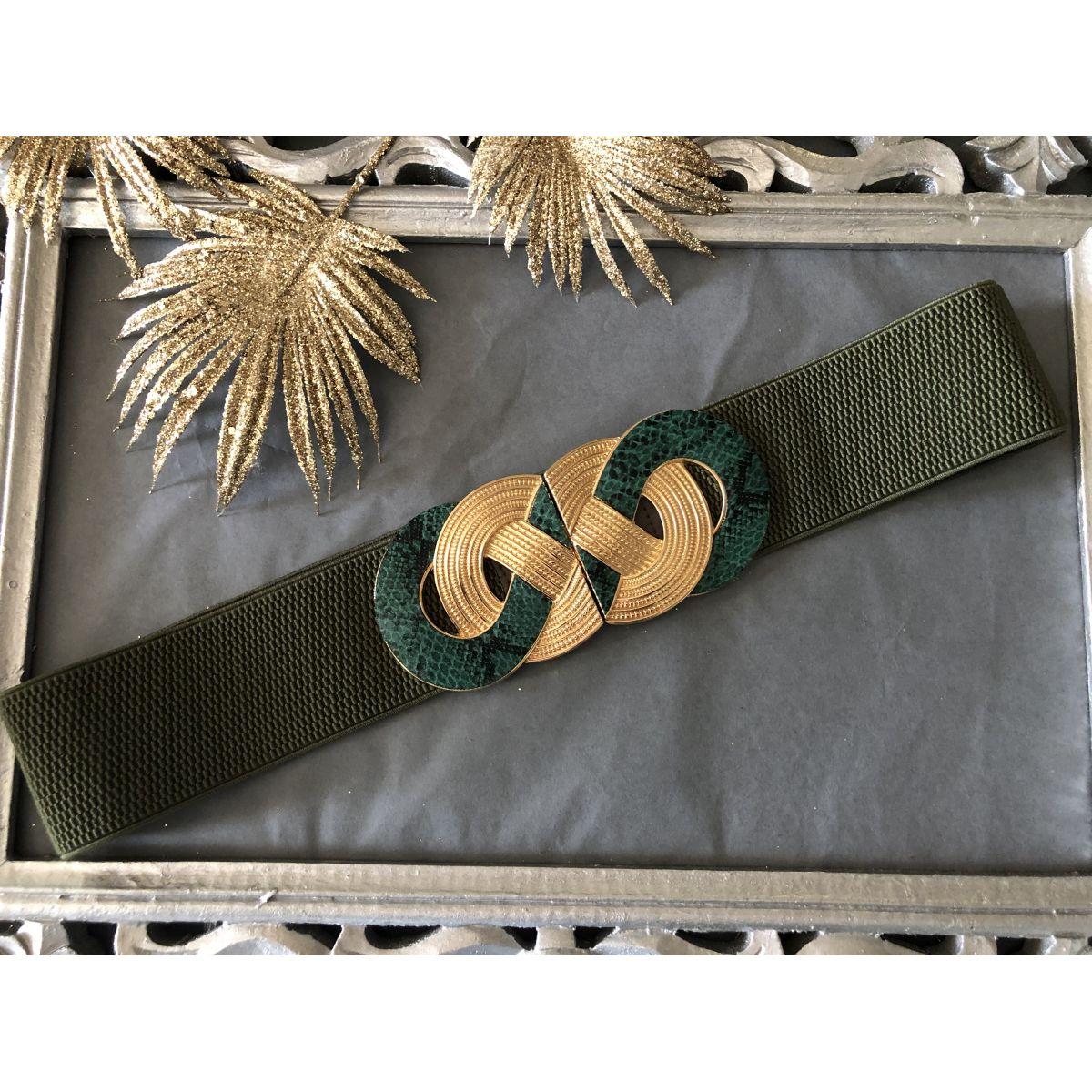 Ceinture élastique verte boucle anneaux vert-gold