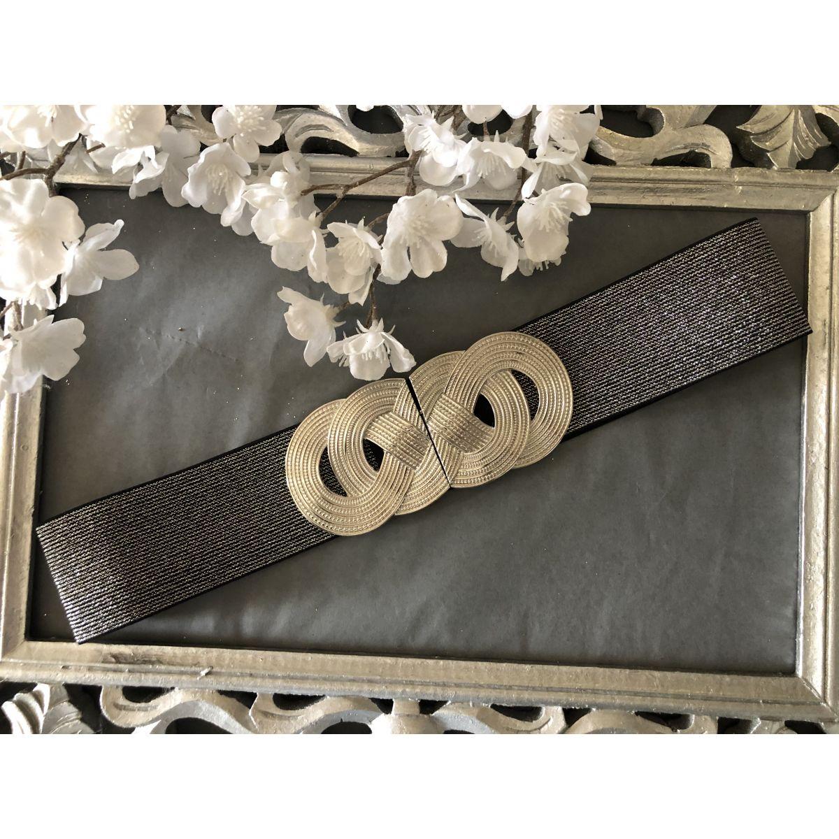 Ceinture élastique grise boucle double anneaux silver black