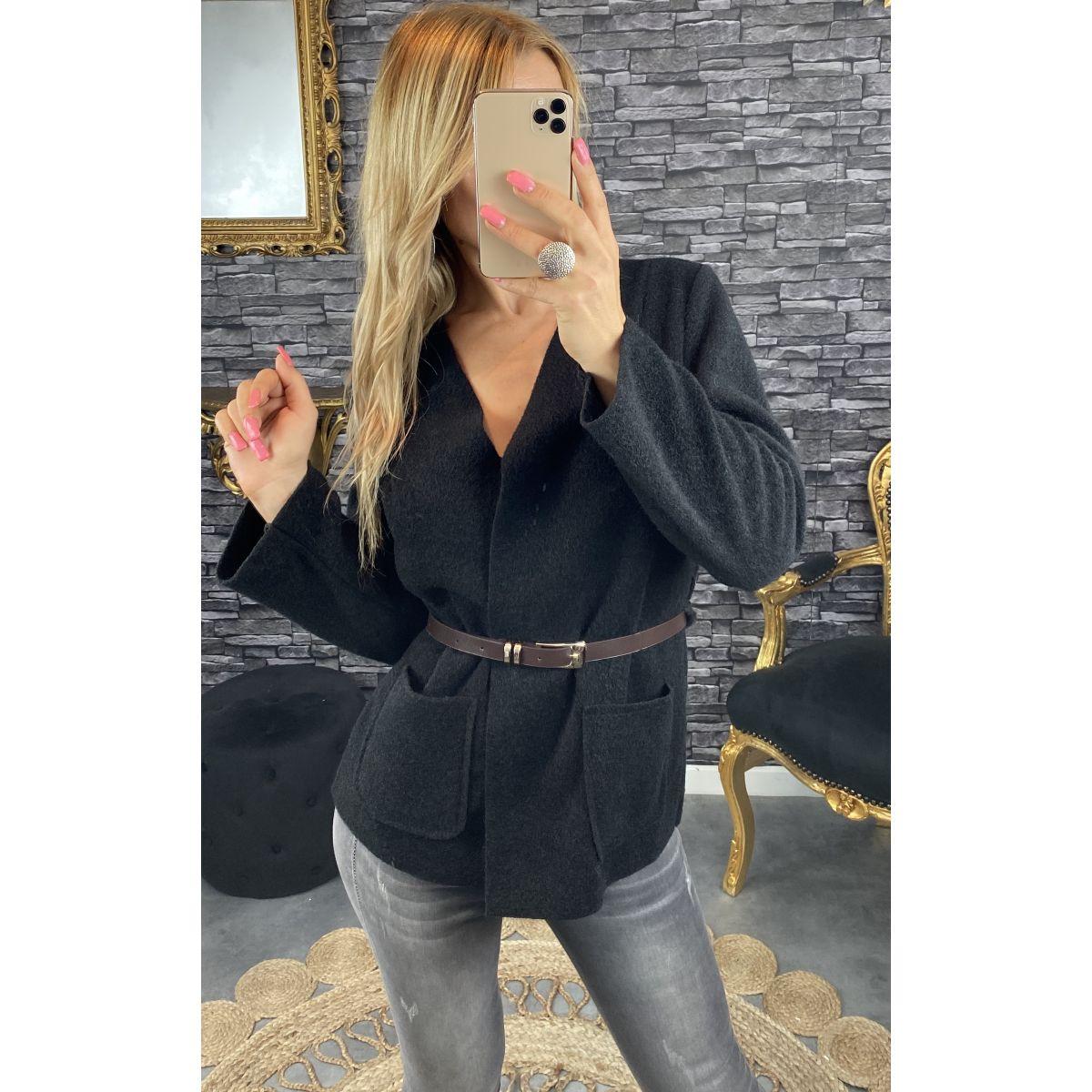Veste en feutrine ceinturé noire