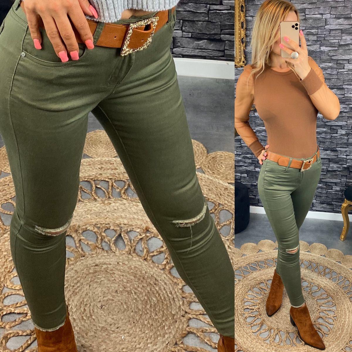 """Jean's slim taille haute genoux déchiré """"kaki"""""""