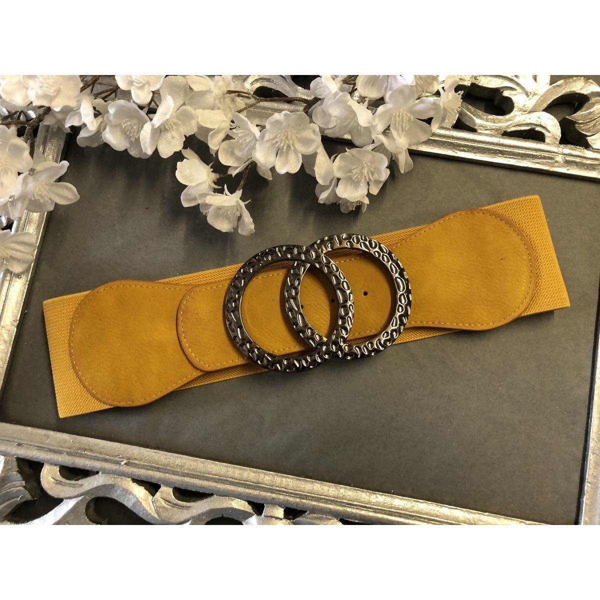 Ceinture élastique moutarde boucle double anneaux silver black