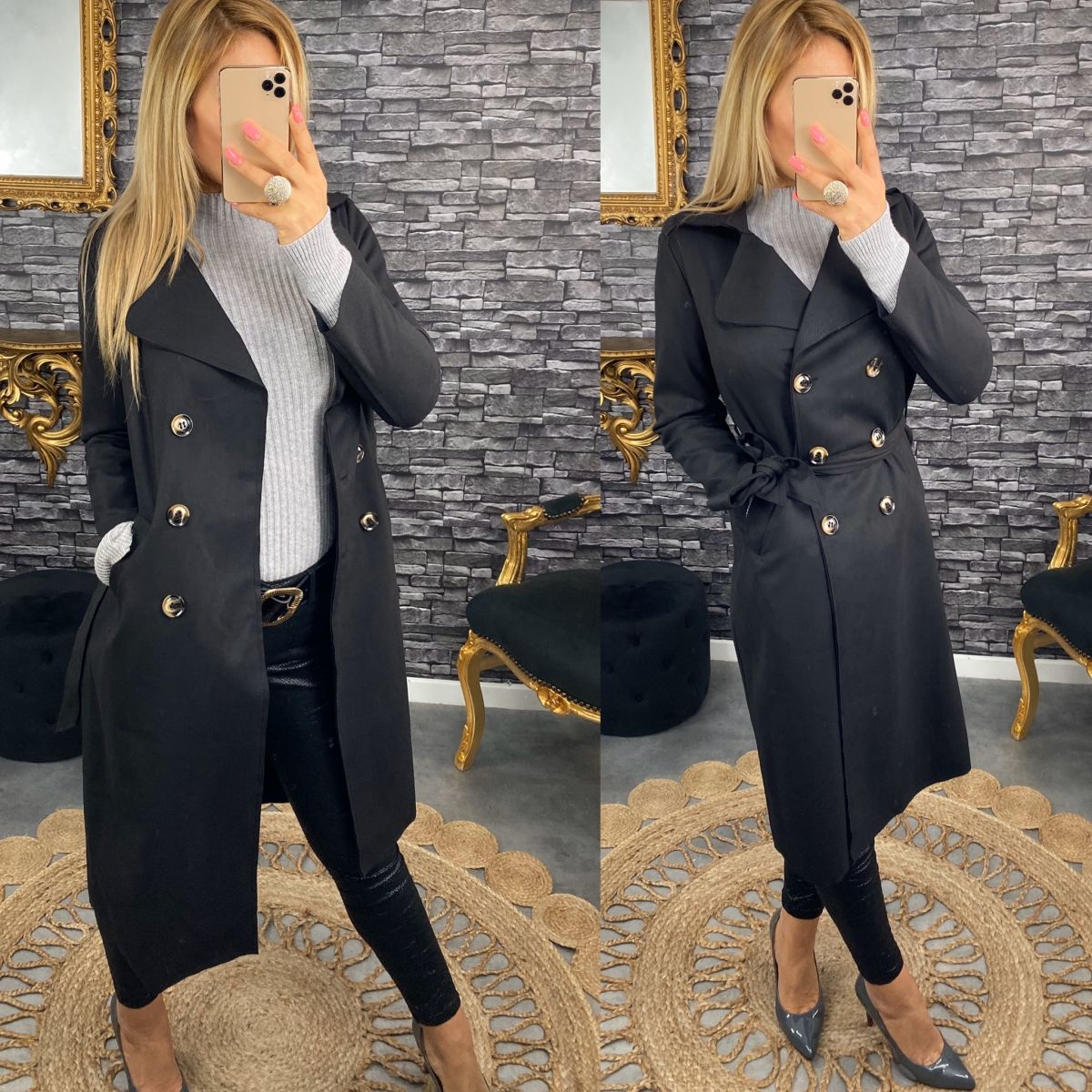 Trench long noir style velours