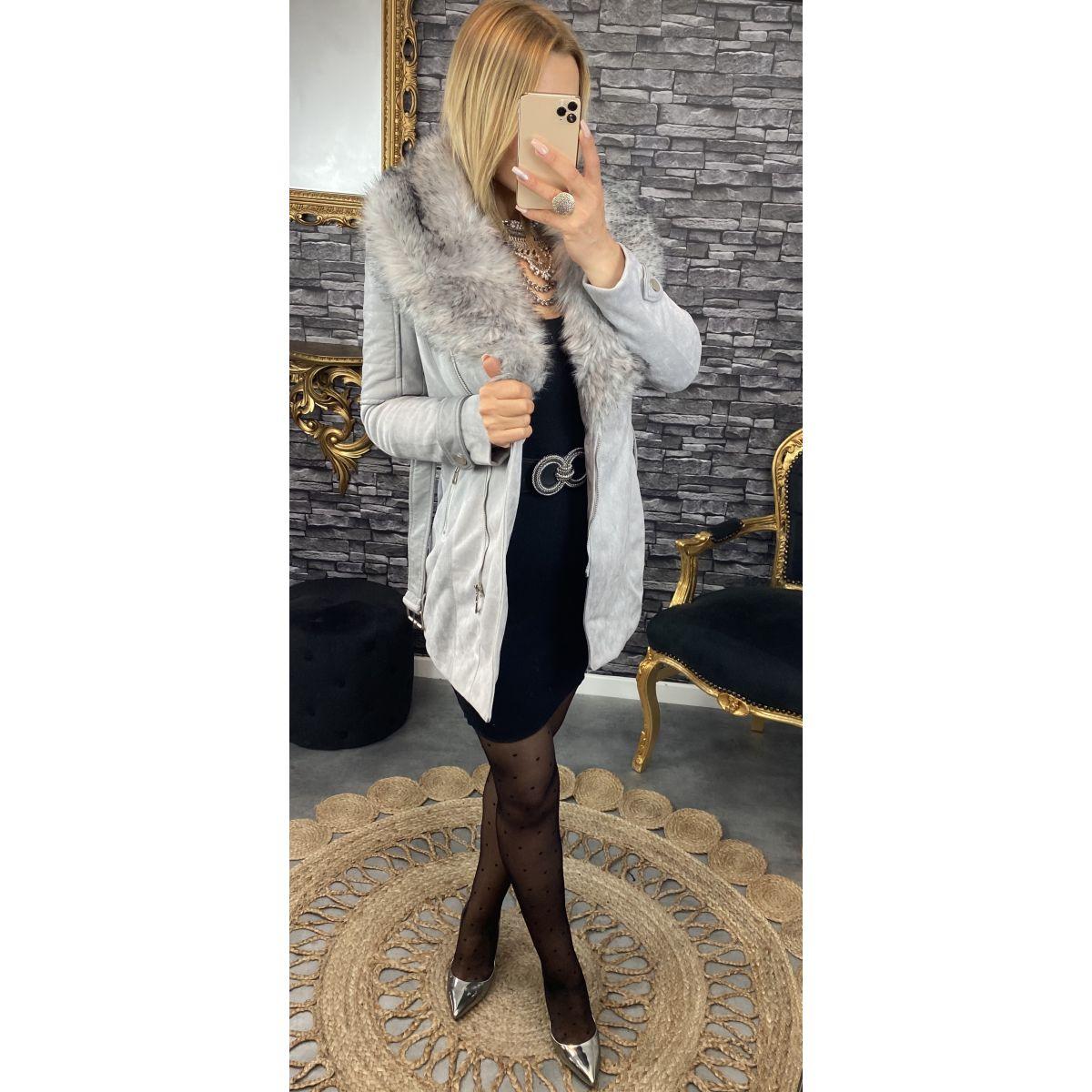 veste mi-longue style daim et cuir grise