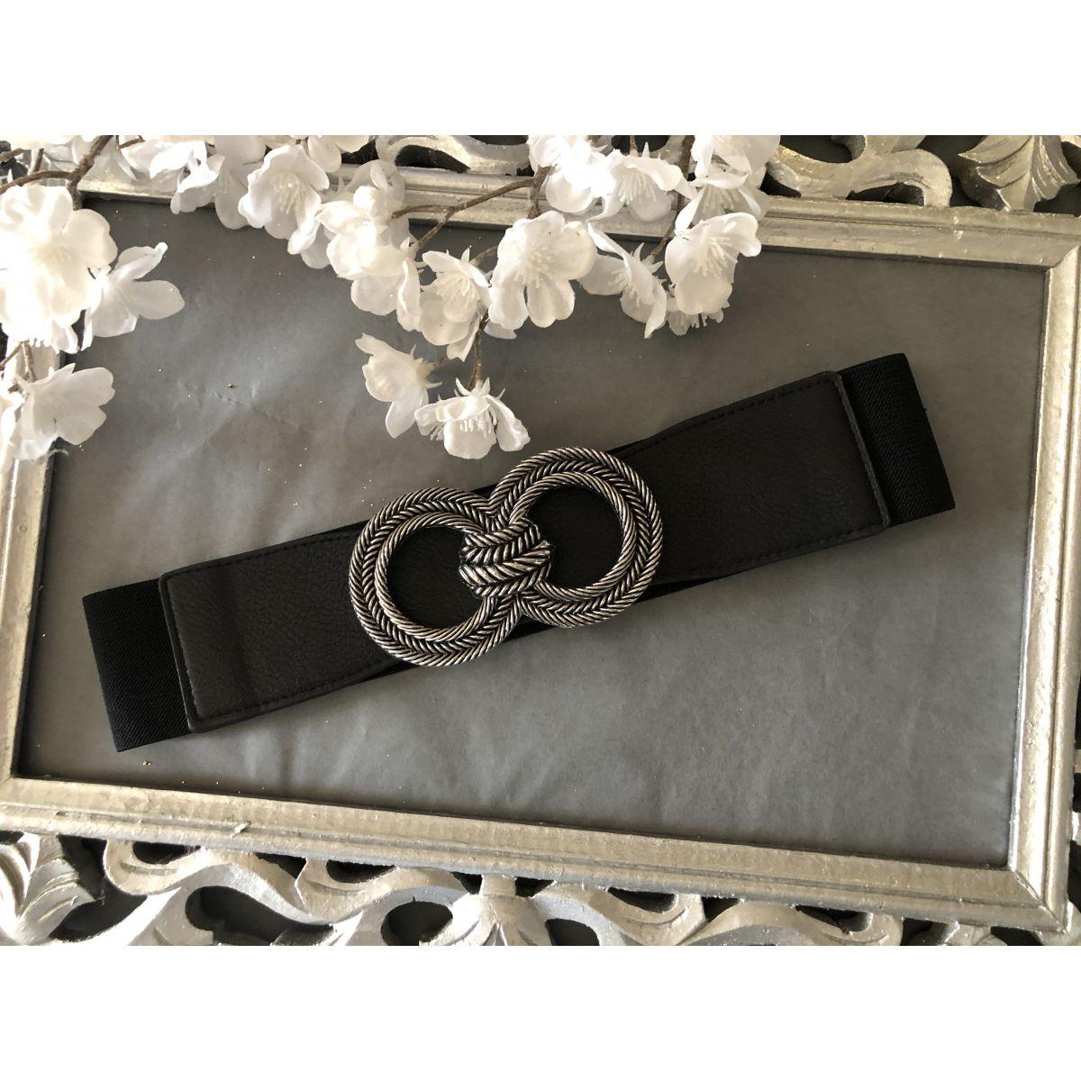 Ceinture élastique noire boucle double anneaux tressé silver