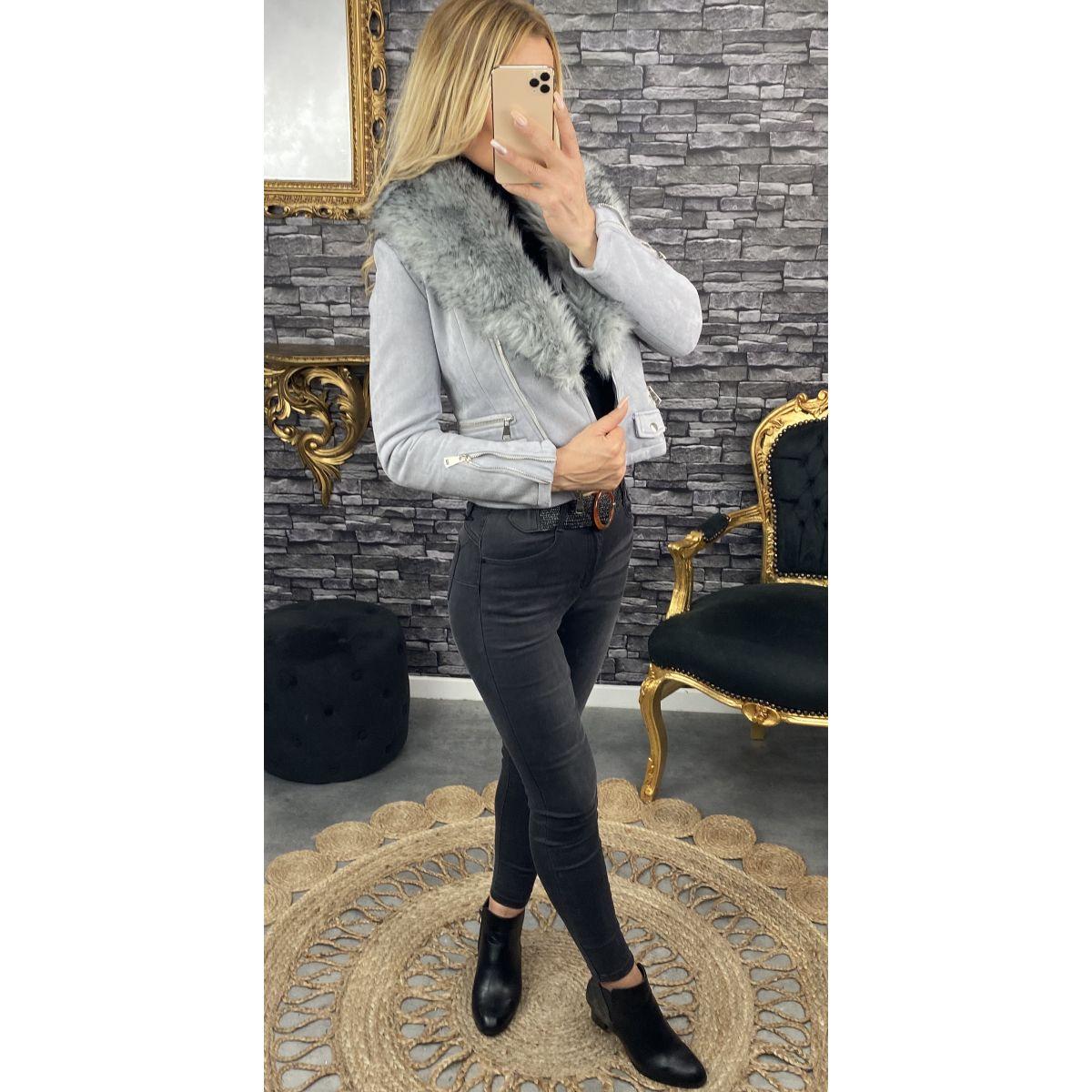 Perfecto style daim gris...