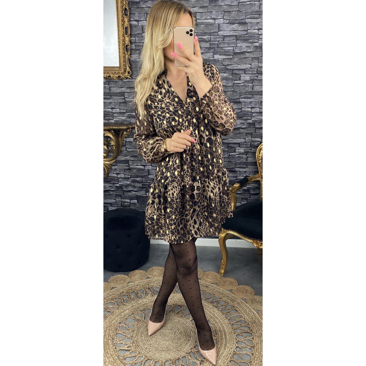 Robe en mousseline imprimé léopard et gold