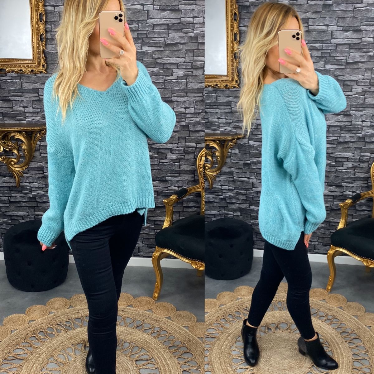 """Pull """"oversize""""en grosse maille turquoise"""
