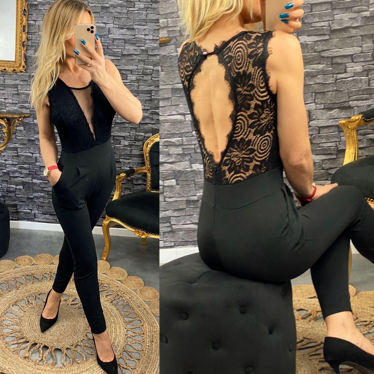 Combinaison pantalon ajusté buste maxi dentelle noire
