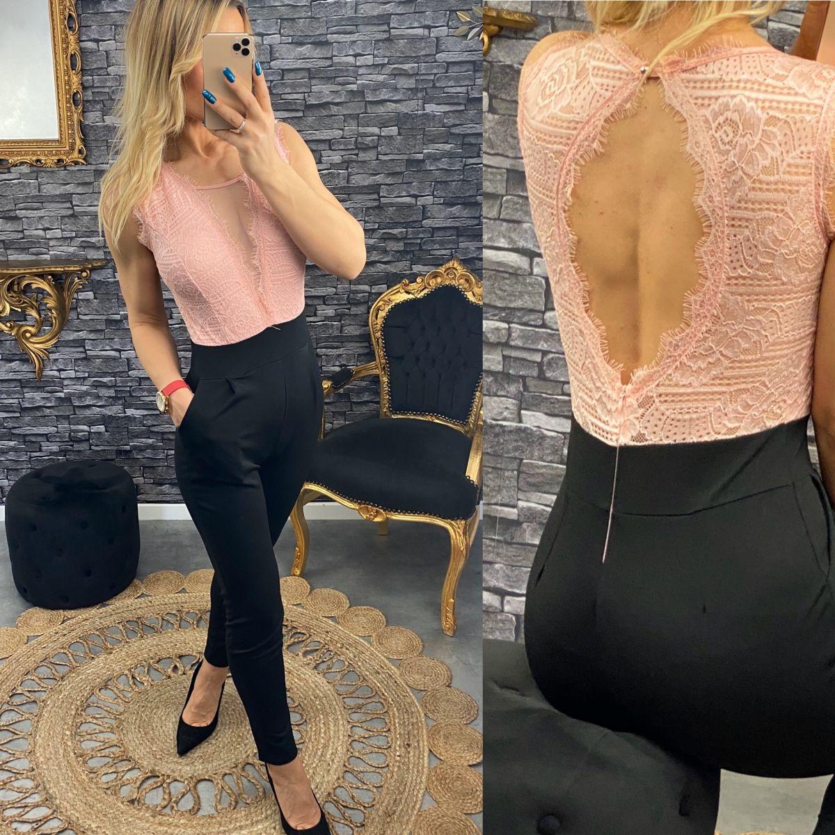 Combinaison pantalon ajusté buste maxi dentelle rose