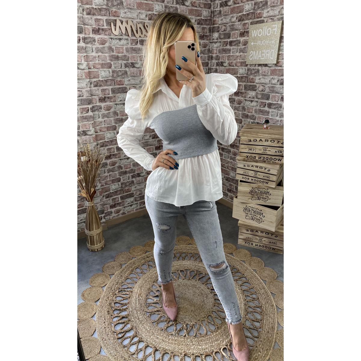 Blouse  blanche style chemisier effet deux pièces gris