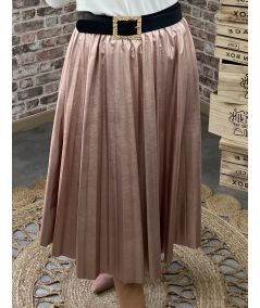 "Jupe simili-cuir plissé ""pink"""