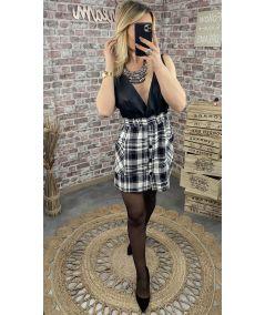Combi-jupe lainage et simili-cuir noire
