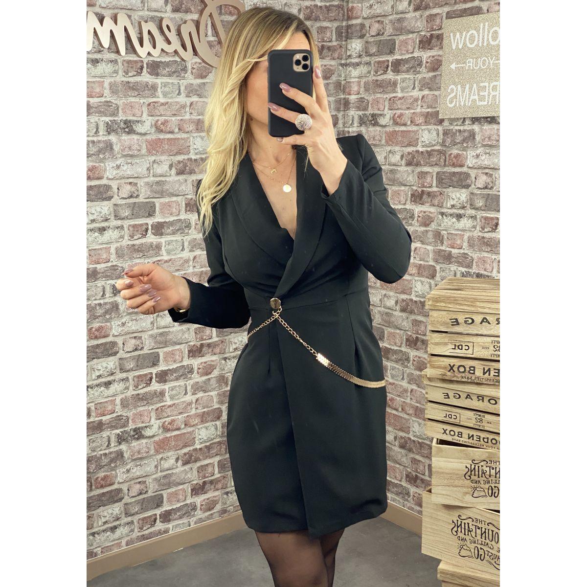 Robe blazer noire détail chaine gold
