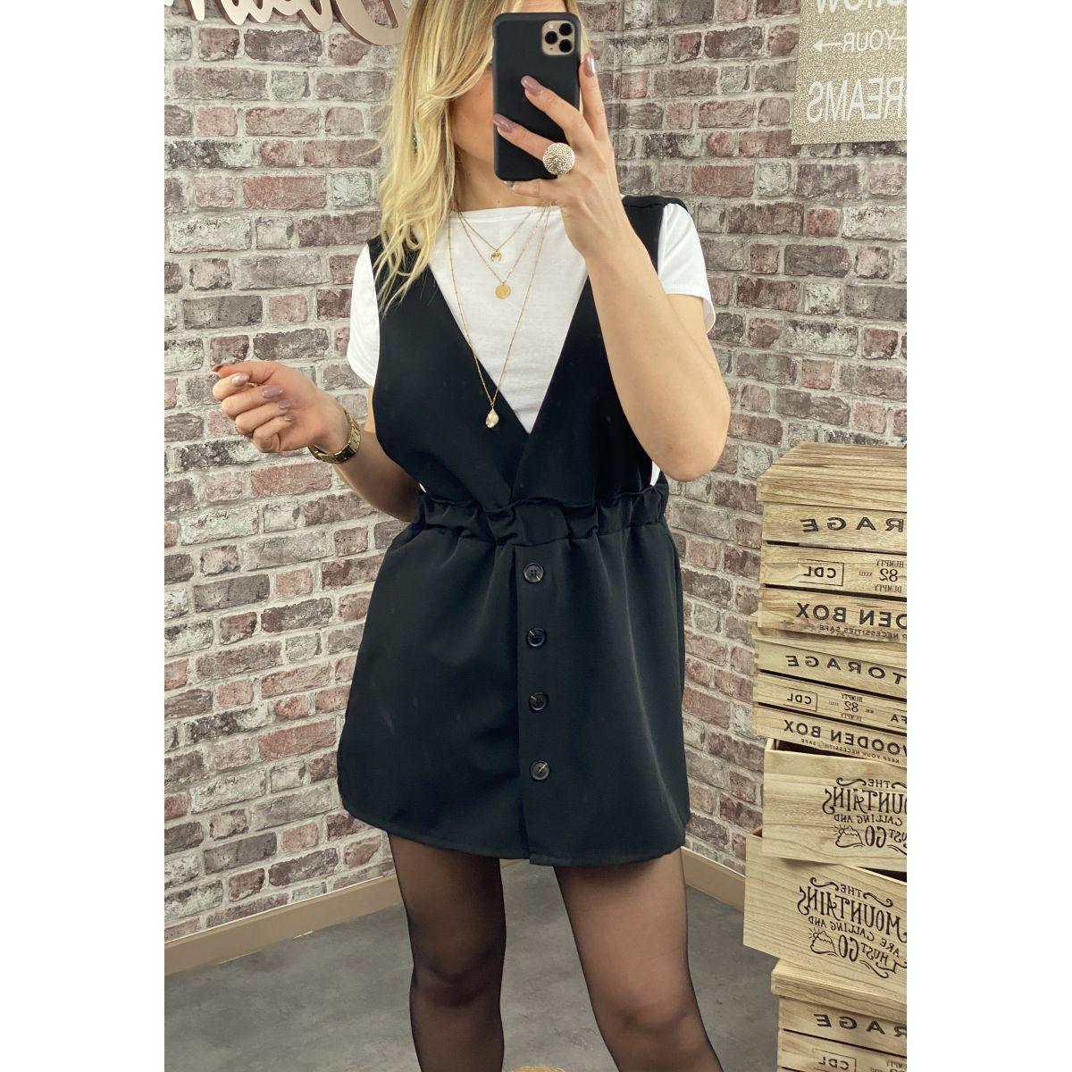 Combi-jupe boutonnée noire