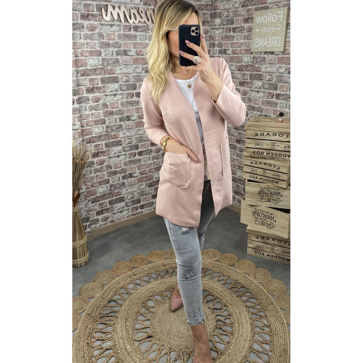 Veste  légère en suédine rose pâle