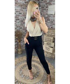 Combi-pantalon noir beige détail ceinture gold