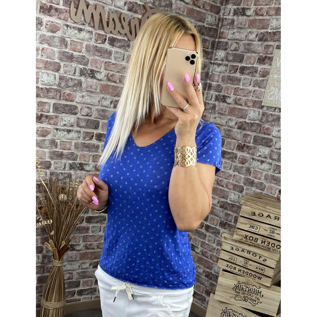 Tee shirt maille fine bleu royal détail silver