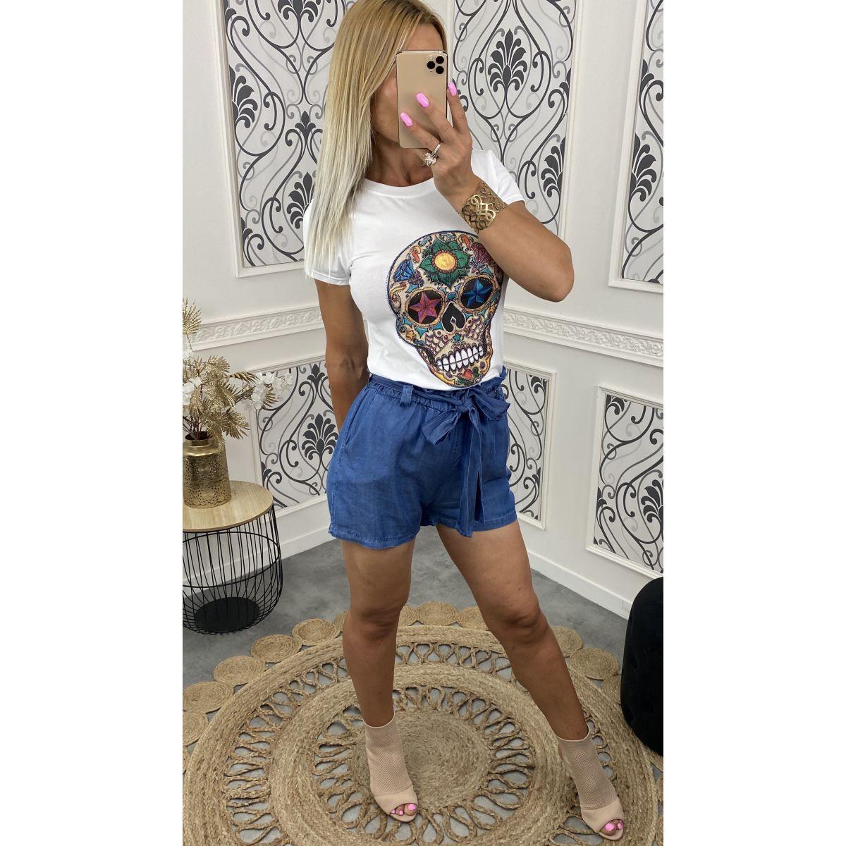 Short ample taille haute en jean,s fin noué