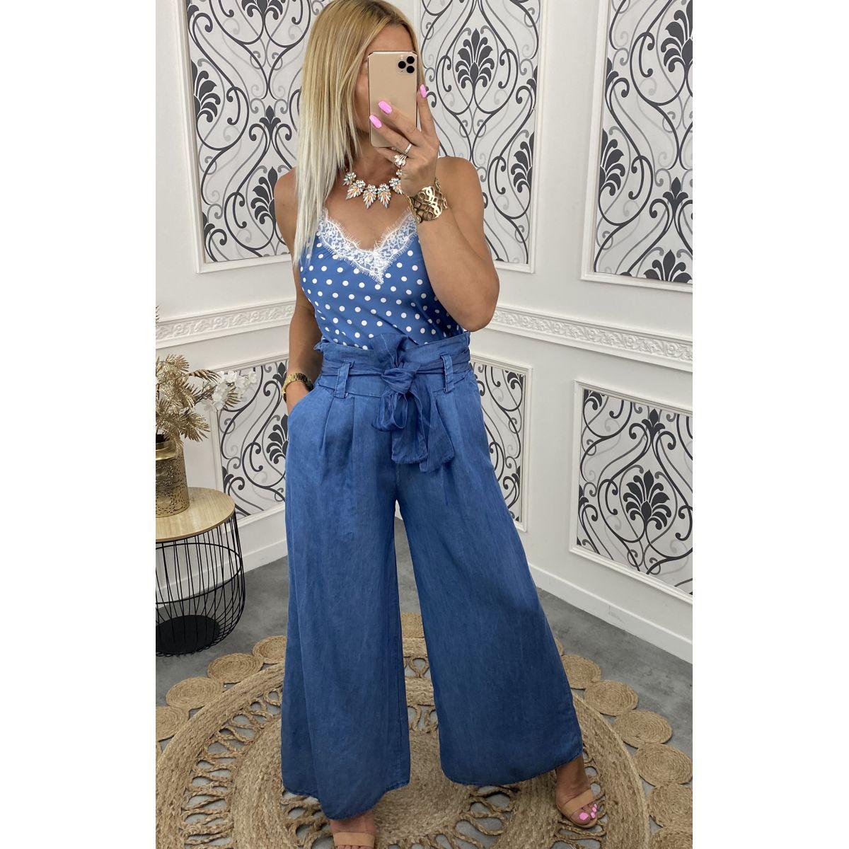 Pantalon coupe ample droite en jean,s fin bleu