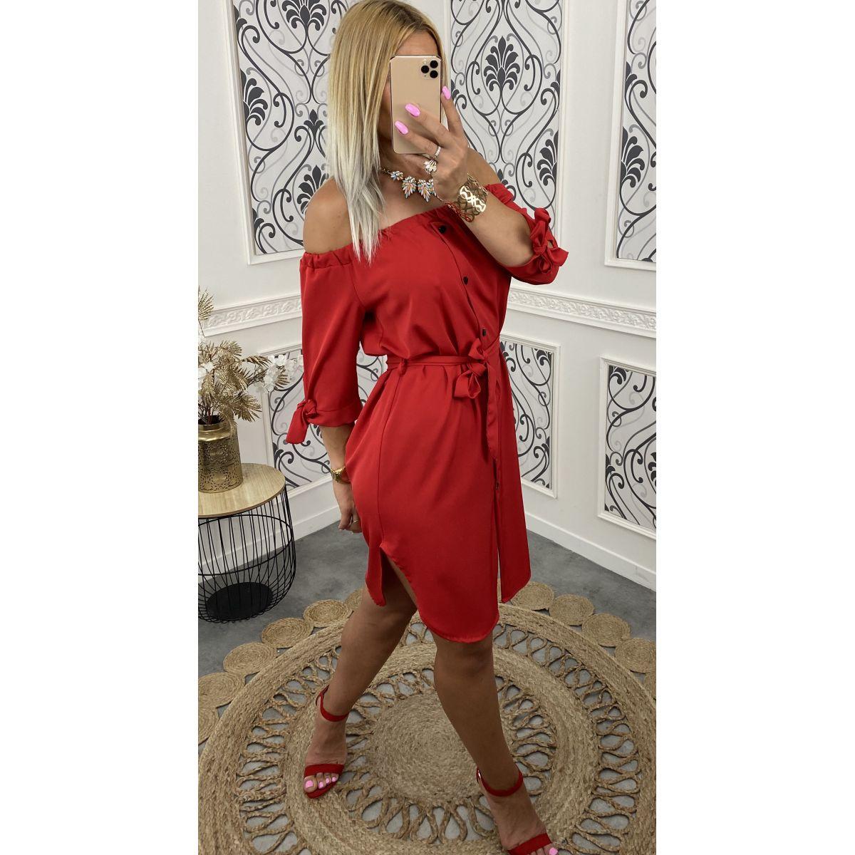 Robe porter épaule rouge
