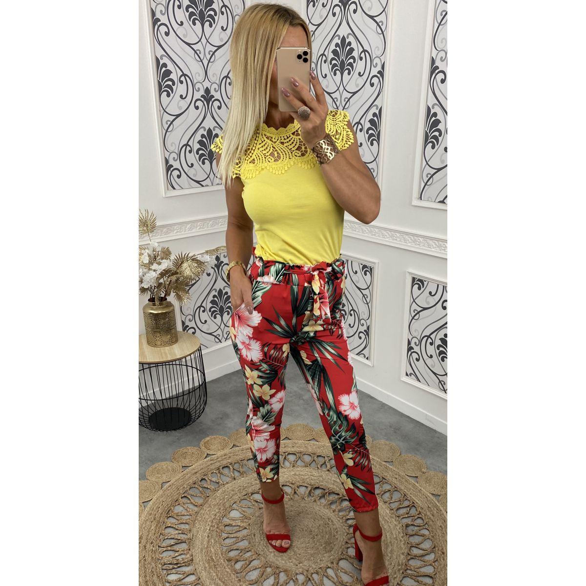 Pantalon léger taille haute fleuri rouge