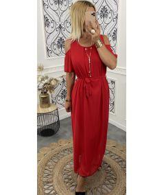 Robe longue épaule ajouré rouge