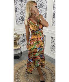 Robe longue multicolore et lumineuse
