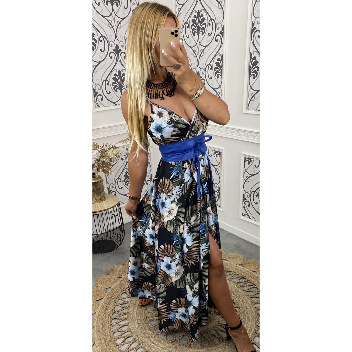 Robe longue satiné fleuri noire-bleu