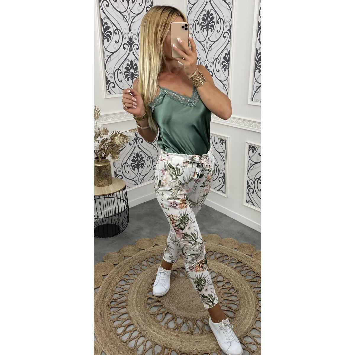 Pantalon léger taille haute tropical fleuri blanc