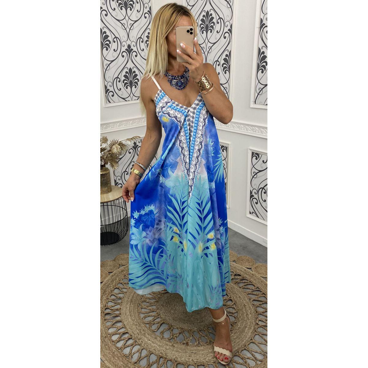 Robe dos nue joli motif asymétrique bleu