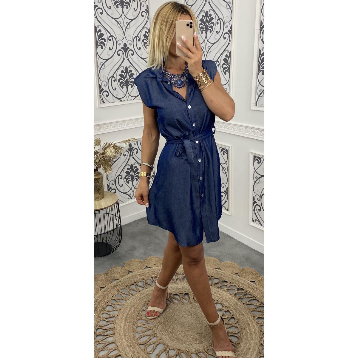 Robe  boutonné sans manche épaulé en style jean's bleu brut