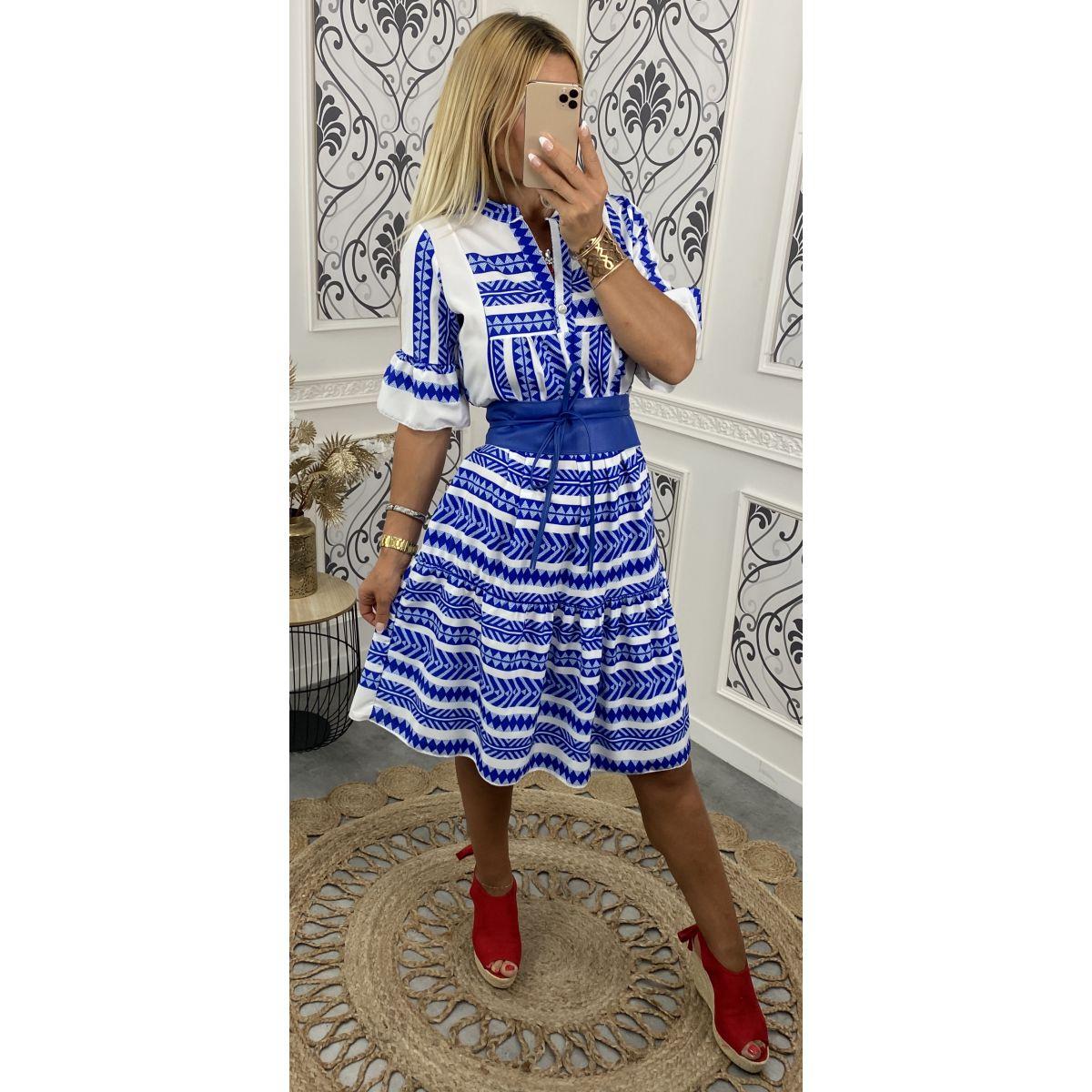 Robe légère coupe ample manches courtes motif bleu électrique