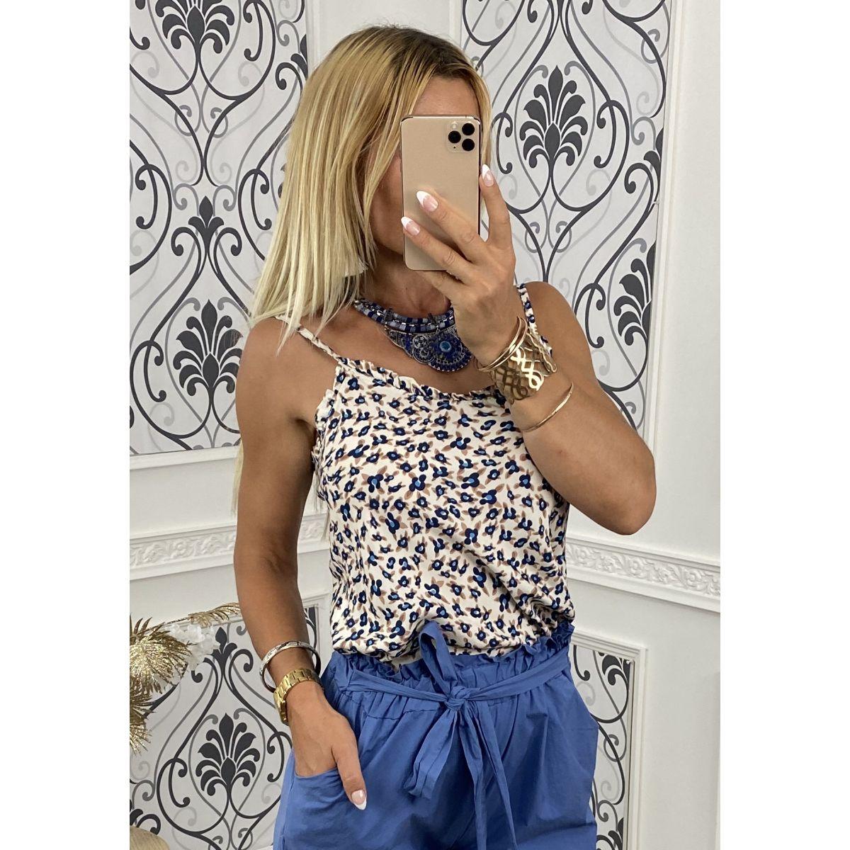 Débardeur coton col froufrou joli motif bleu