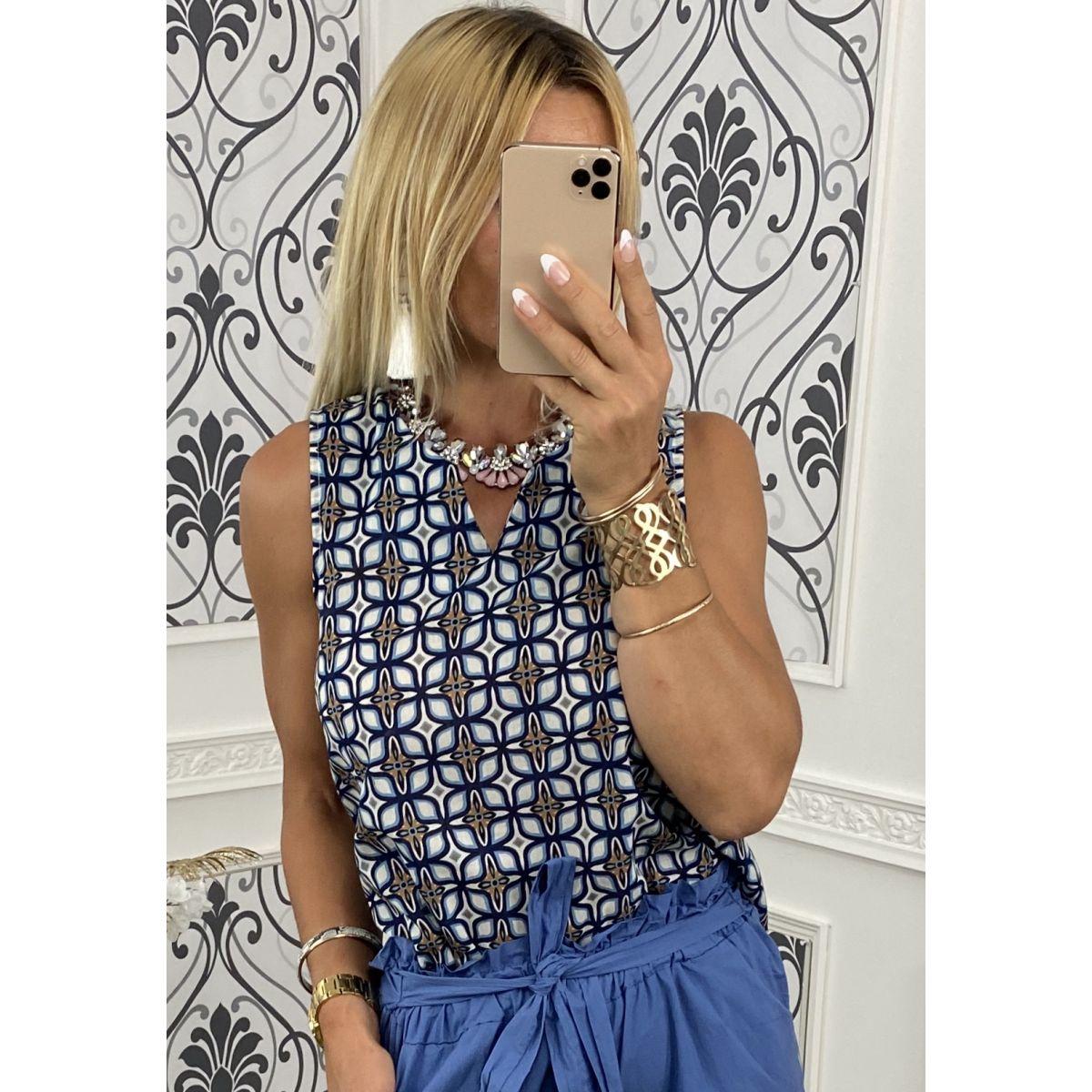 Débardeur coton fin joli motif bleu