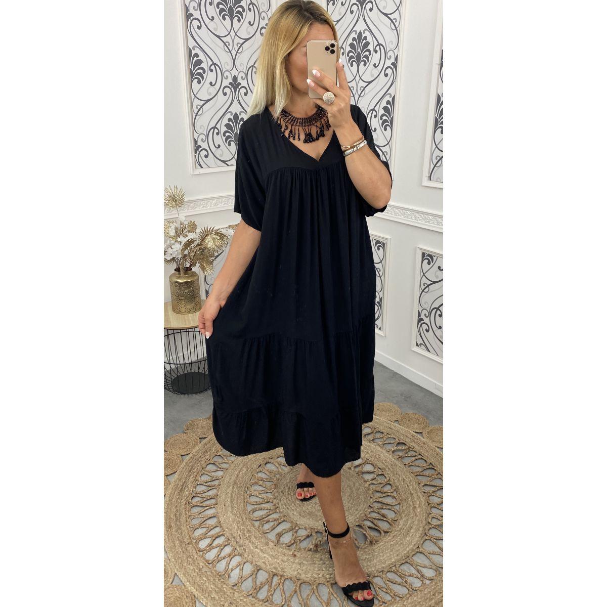 Robe extra large manches courte en coton noire