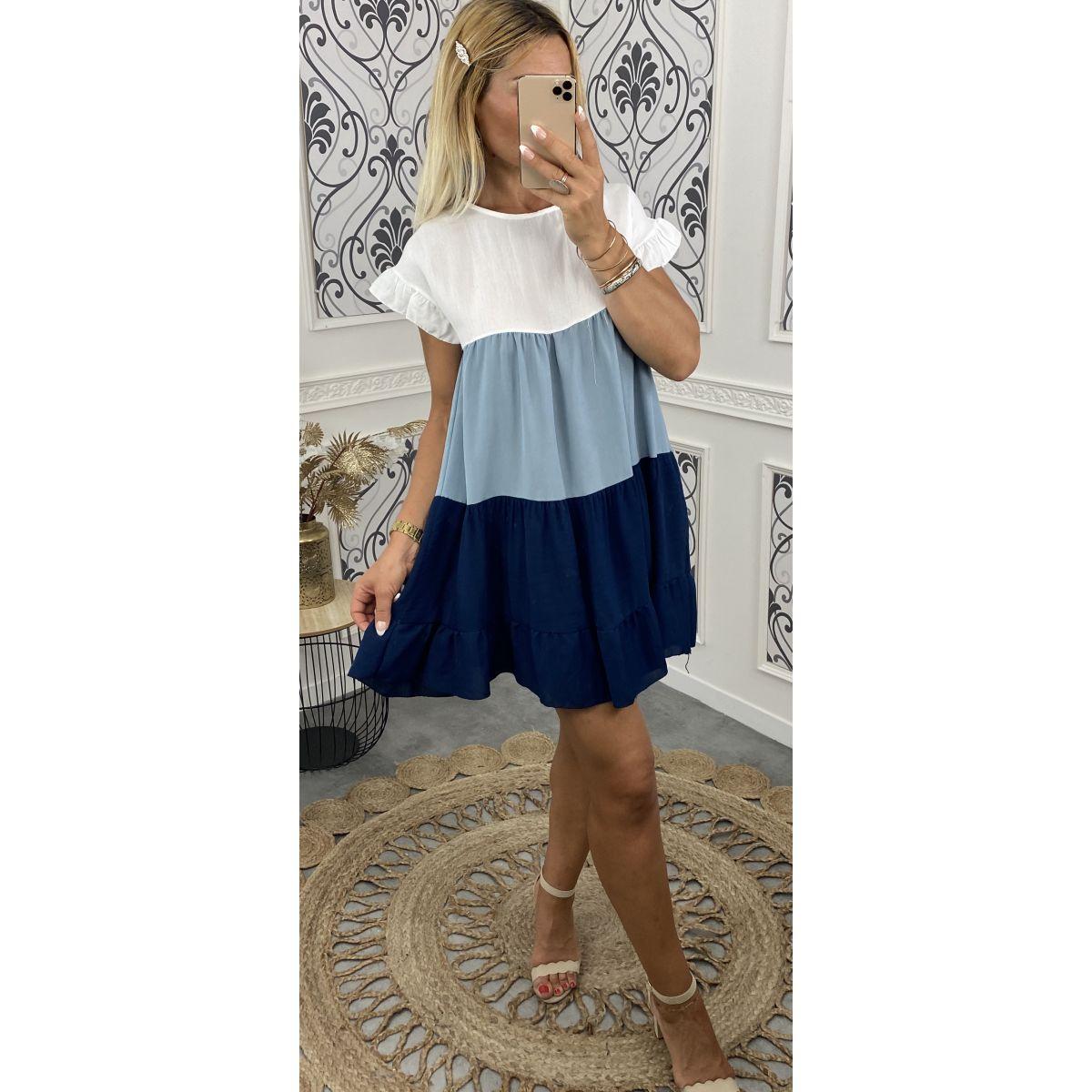 Robe coton coupe ample tricolore bleu