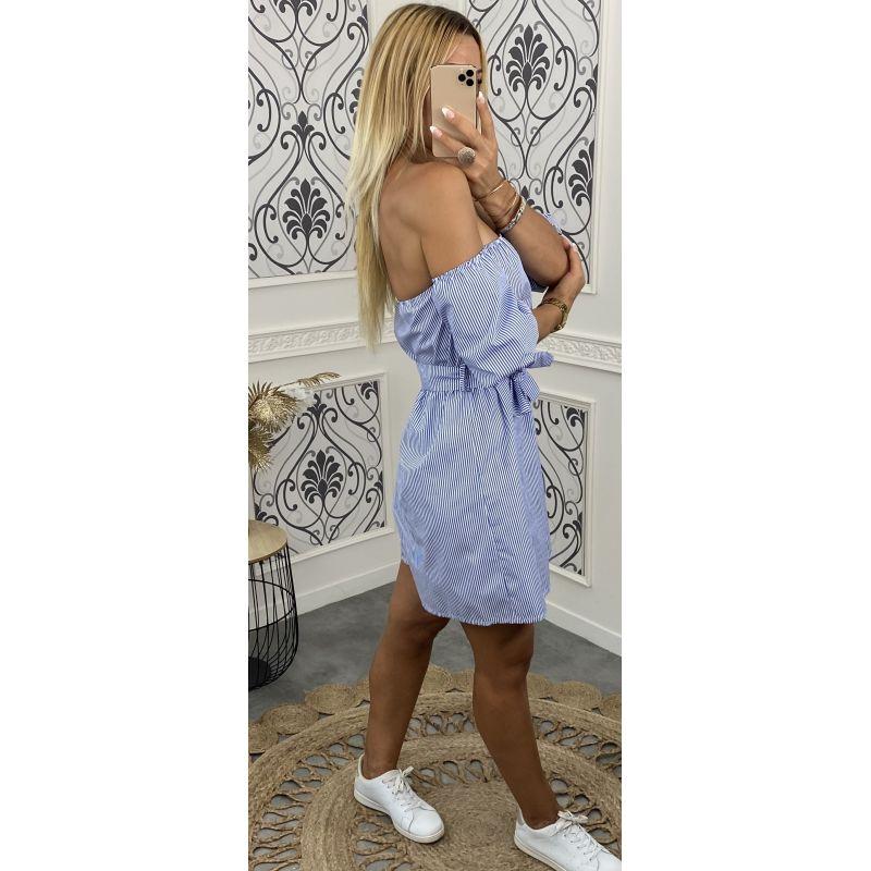 Combi-short porté épaule et manches courtes fine rayure