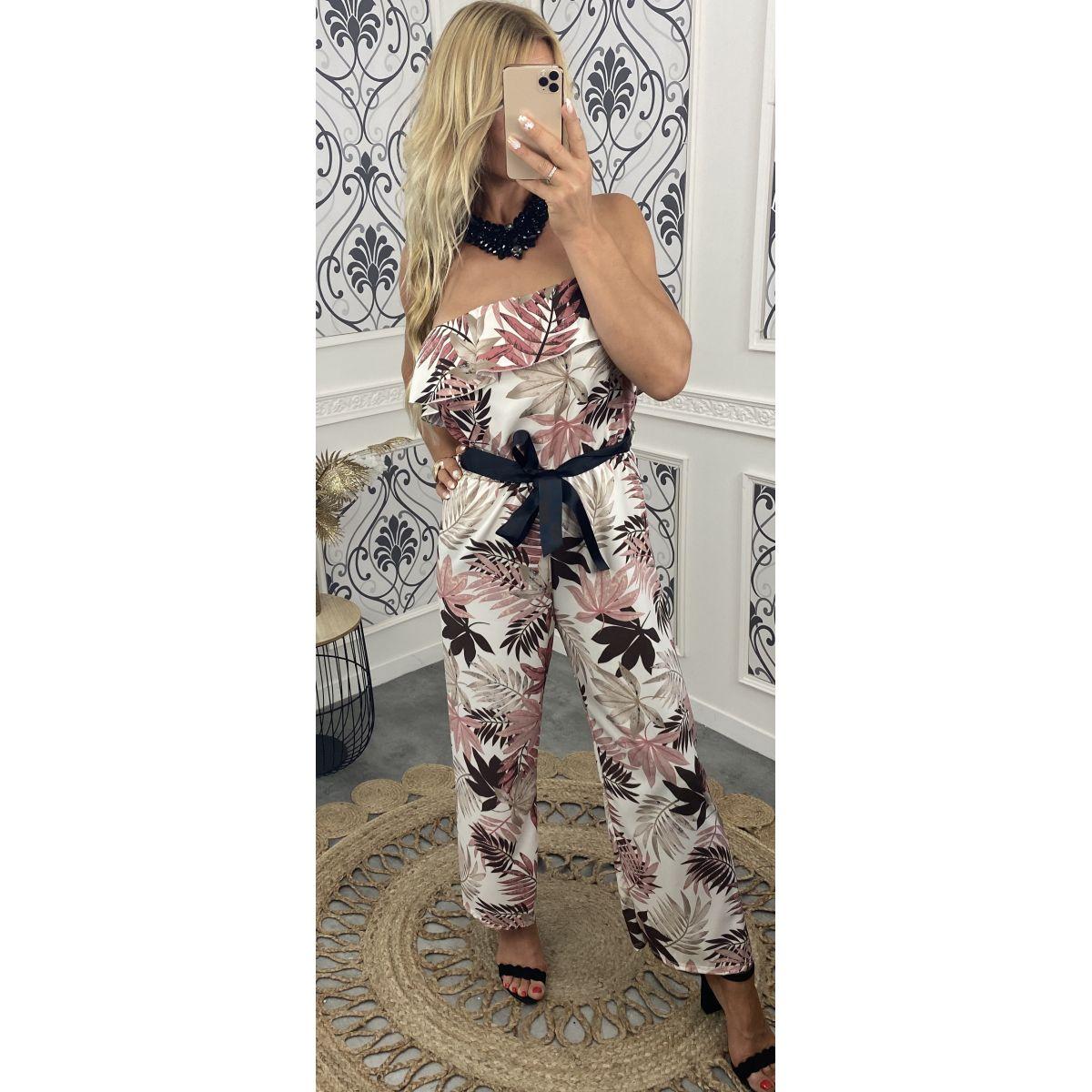 Combi-pantalon col volant fleuri tropical rose